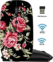 MSD Wireless Mouse 2.4G Travel Mice with USB Receiver, Noiseless and Silent Click with 1000 DPI for Notebook PC Laptop Computer MacBook Black Base Image ID: 29041857 Red Rose Fabric Background Fragme