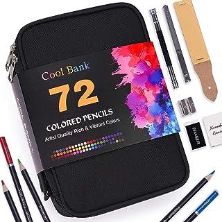 72 عدد مداد رنگی زیپ آپ ، مداد هنرمند مجموعه ای برای کتاب های رنگ آمیزی ، هسته های رنگ صاف و مداد رنگ آمیزی در یک مورد مسافرتی قوی ، مناسب برای بزرگسالان ، هنرمندان