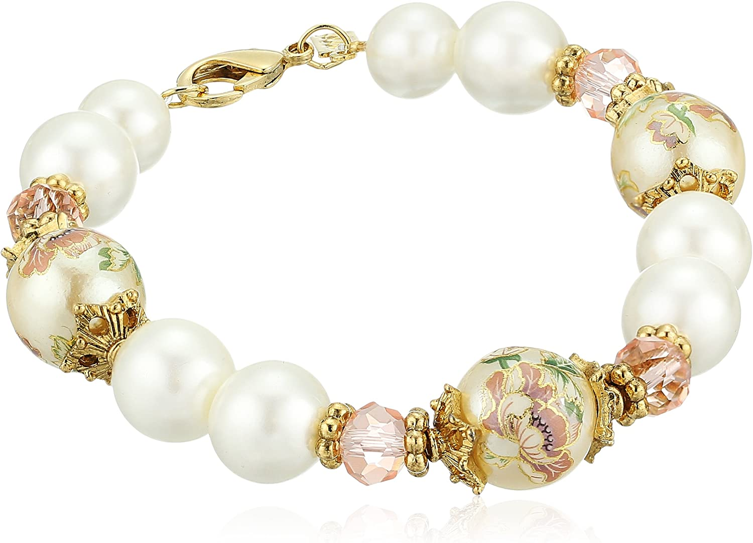 1928 Jewelry Womens Gold Tone Flower Decal Pearl  Pearl Strand