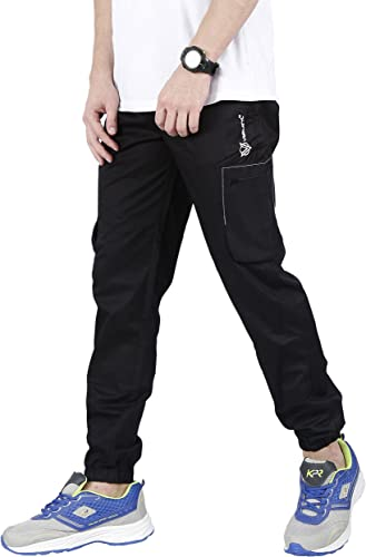 Jogger Men s Slim Fit Casual and Stylish 100 Cotton Twill Jogger Cargo Pants with 4 Zip Pockets for Sports Gym Athletic Training Workout