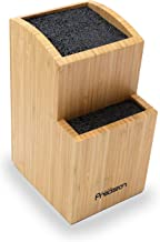Kitchen Precision Universal Knife Block Holder - Bamboo Knife Stand and Tiered Storage Organiser to Save Kitchen Counter S...