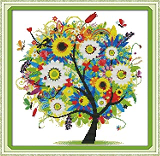 Benway Counted Cross Stitch Kit Colorful Lucky Tree Flowers Tree 14 Count 15''x15''