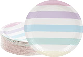 Disposable Plates - 80-Count Paper Plates, Party Supplies for Appetizer, Lunch, Dinner, and Dessert, Birthdays, Multi-Colored Pastel Stripes Design, 9 x 9 inches