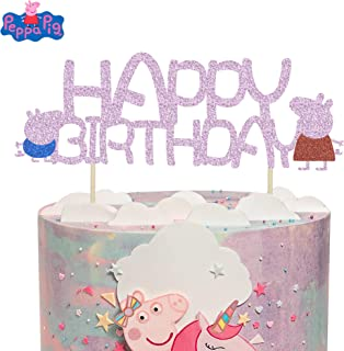 KAPOKKU Peppa Pig Family Glitter Cake Toppers Party Decorative for Kids Birthday Party Baby Shower (peppa pig Cake Topper)
