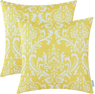 CaliTime Pack of 2 Soft Canvas Throw Pillow Covers Cases for Couch Sofa Home Decoration Vintage Solid Damask Floral 18 X 18 Inches Bright Yellow