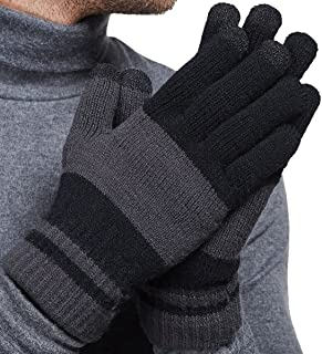 LETHMIK Winter Touchscreen Knit Gloves Mens Warm Wool Lining Texting for Smartphones