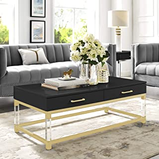 Best black high gloss coffee table with drawers Reviews