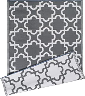 DII Moroccan Indoor/Outdoor Lightweight, Reversible, & Fade Resistant Area Rug, Use For Patio, Deck, Garage, Picnic, Beach, Camping, BBQ, Or Everyday Use - 4 x 6', Gray Lattice