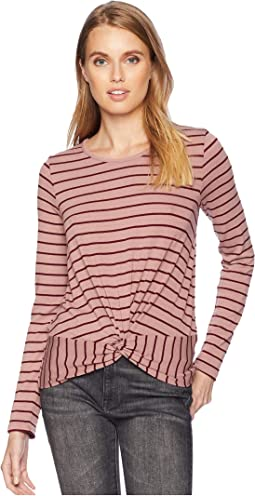 Long Sleeve Scoop Neck Top w/ Knot Front