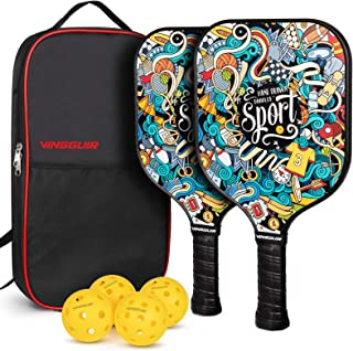 Vinsguir Pickleball Paddle Set - 2 Premium Graphite Rackets Honeycomb Composite Core with Cushion Comfort Grip & 4 Balls &...