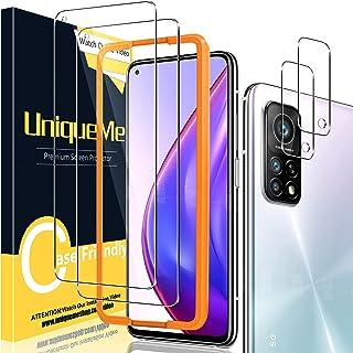 UniqueMe [2+2-pack skärmskydd för Xiaomi Mi 10T Pro 5G/Xiaomi Mi 10T 5G härdat glas och kameralinser skärmskydd för Xiaomi...