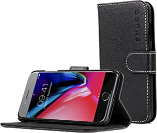 Snugg iPhone 7 Plus and 8 Plus Case Apple iPhone Flip [Card Slots] Leather Wallet Cover Design in Black, Legacy Range
