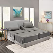 Nestl Bedding Soft Sheets Set – 5 Piece Bed Sheet Set, 3-Line Design Pillowcases – Easy Care, Wrinkle Free – 2 Fit Deep Pocket Fitted Sheets – Free Warranty Included – Split King, Gray