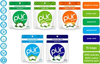 PUR 100% Xylitol Breath Mints, Variety Pack, 20 Count (Pack of 15) Sugar-Free + Aspartame Free, Vegan + non GMO