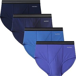 INNERSY Men's Underwear Elastic Underwear Men's Cotton Briefs with N Fly Pack of 4
