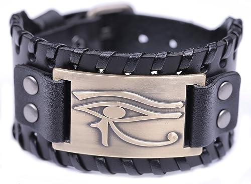 TEAMER Bracelet en cuir avec amulette vintage œil d'Horus - Talisman égyptien païen