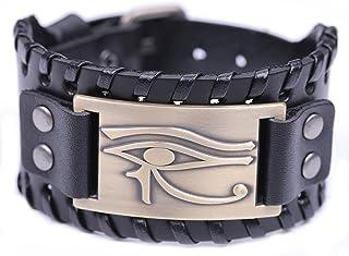 TEAMER Vintage Amulet Eye of Horus Leather Bracelet Cuff Bangle Egyptian Talisman Pagan Jewelry (Antique Bronze,Black)