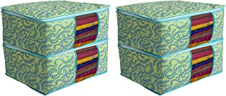 Kuber Industries Metalic Print 4 Piece Non Woven Saree Cover Set, Green (CTKTC2589)