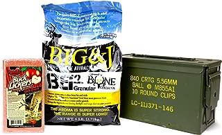 Big & J BB2 Granular Long Range Deer Feed/Attractant - 6 LB & Evolved Habitats Buck Lickers Apple Flavored Salt Brick - 4 LB Bundle Set & US Military Previously Issued 50-Caliber Ammo Box (3 Items)