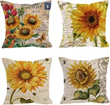 Set of 4 Oil painting sunflower Throw Pillow Case Cushion Cover Decorative Cotton Blend Linen Pillowcase for Sofa 18 X 18 , Vibrant Yellow Flower Vintage Zippered Throw Pillow Cover Decorative