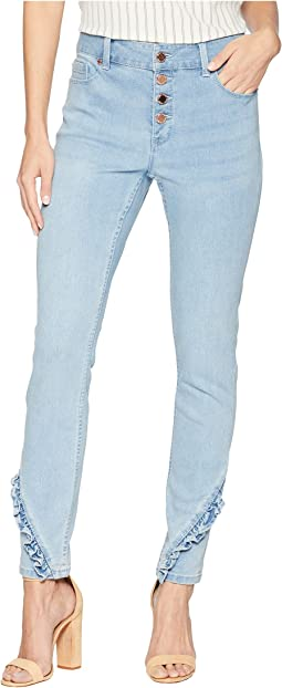 Light Wash Frayed Hem Button Up Cropped Jeans in Powder Wash