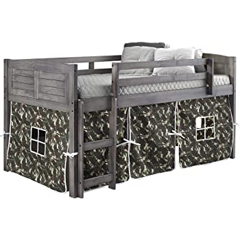 DONCO KIDS Louver Low Loft Bed with Camo Tent, Twin, Antique Grey