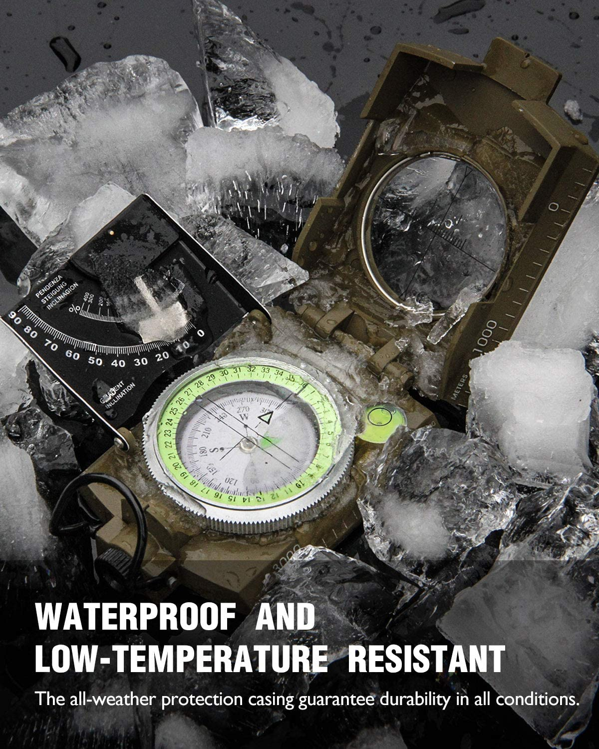 Eyeskey Multifunctional Military Metal Sighting Navigation Compass with Inclinometer | Impact Resistant & Waterproof Compass for Hiking, Camping, Boy Scout (Green) : Sports & Outdoors