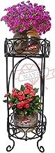 NAYAB Two-Tier Scroll Iron Metal Step Plant Stand for Balcony Indoor/Outdoor Corner Garden Flower Pot Holder Rack Shelf (Scroll - 2 Tier)