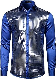JOGAL Mens Dress Shirt Silver Sequins Long Sleeve Button Down 70s Disco Shirt Party Costume