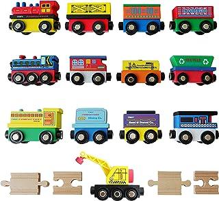 Tiny Conductors 12 Wooden Train Cars + 1 Bonus Crane + 4 Bonus Connectors Locomotive Tank Engines and Wagons for Toy Train...