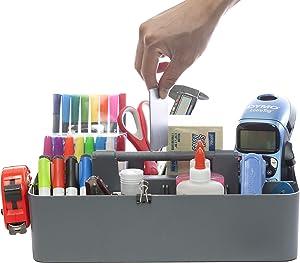 Enjoy Organizer -Large Carry Caddy Bin Basket Portable Office Desk Storage DIY- Made in USA (Orion Gray)