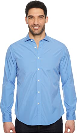 Striped Poplin Brownstone Long Sleeve Sport Shirt