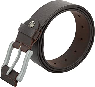 Men's Genuine Leather Belt, Full Grain Leather Belt with Silver metal buckle for Jeans, Pants – 120
