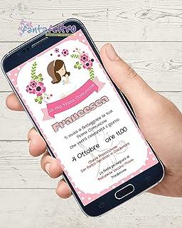 Invito Prima Comunione bambina personalizzato da stampare e whatsapp