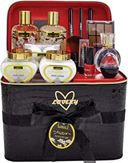 Premium Bath and Body Gift Basket For Women – 30 Piece Set, Floral Jasmine Home Spa & Makeup Set, Includes Cosmetic Pencils, Lip Balms, Lotions, Perfume, Black Leather Cosmetic Bag & Much More