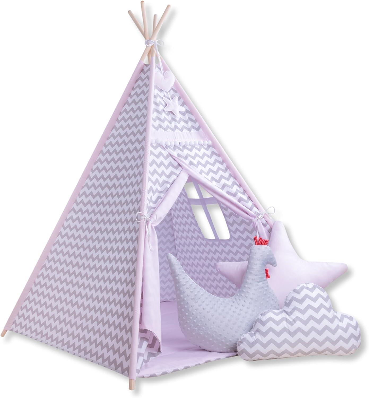 Amilian Tipi Spielzelt Zelt für Kinder T56 (Spielzelt ohne Tipidecke mit 3 x Dekokissen)