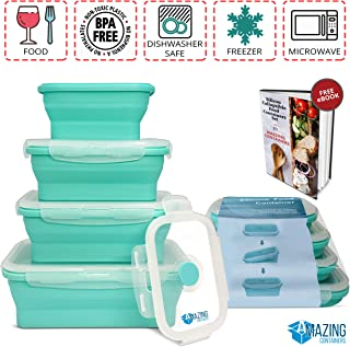 Collapsible silicone food storage container set of 4 with lids   Stackable & space saving   Microwaveable   Fridge, freezer & dishwasher safe   BPA free Colour-coded, clip-on lids   Bento lunch box