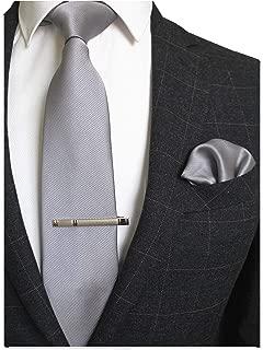 Solid Color Formal Necktie and Pocket Square Tie Clip Sets for Men