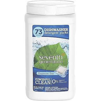 Seventh Generation Dishwasher Detergent Packs, Fragrance Free, 73 Count