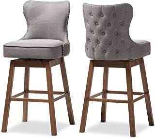 Baxton Studio Bar Stool 2-Piece Set, Gray