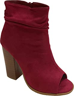 Women's Peep Toe Slouch Chunky Stacked Block Heel Ankle Bootie