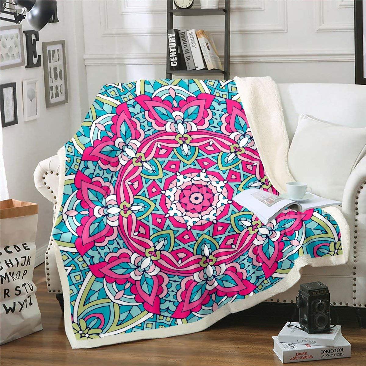 Boho Mandala Fleece Throw Blanket Printed Super intense Outlet ☆ Free Shipping SALE Blanke Bohemian Sherpa