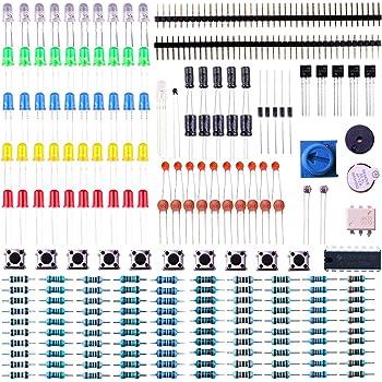 ELEGOO Kit Básico de Componentes Electrónicos con Resistencias, Leds, Condensadores, Zumbador, Potenciómetro Compatible con Arduino UNO R3, Mega 2560, Raspberry Pi, Nano, Hoja de Datos Disponible: Amazon.es: Electrónica