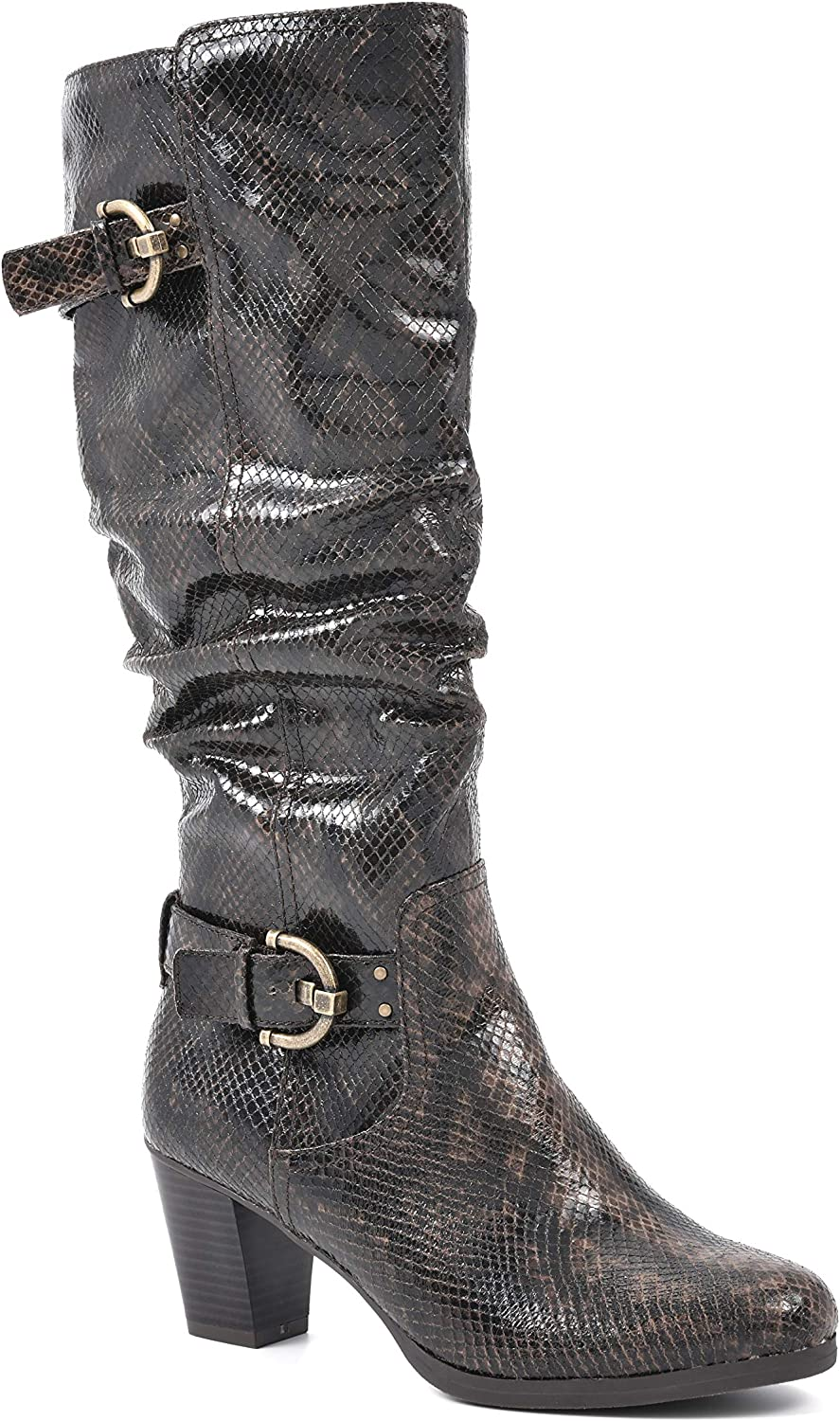 Rialto Women's Farewell Dk Brown Exotic Our Max 84% OFF shop OFFers the best service High Boot 7.5 Knee Size
