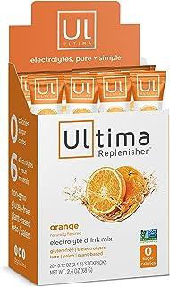 Ultima Replenisher Electrolyte Hydration Powder, Orange, 20 Count Stickpacks - Sugar Free, 0 Calories, 0 Carbs - Gluten-Fr...