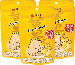 Sun Ten Sweet Dried Ginger Root Slices 100% Natural Preservative Free Uncrystallized Coated with Pure Cane Sugar (3 Pack)