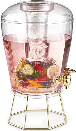 VonShef Dispenser per Bibite da 7L   Tappo e Supporto Dorato, Infusore di Frutta e Vassoio per Ghiaccio   Non-BPA Contenitore per Servire Bibite Fredde, Cocktail, Punch, Acqua, Bevande Ghiacciate