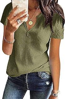 Women's Summer Waffle Knit Short Sleeve Tunic Tops V Neck...