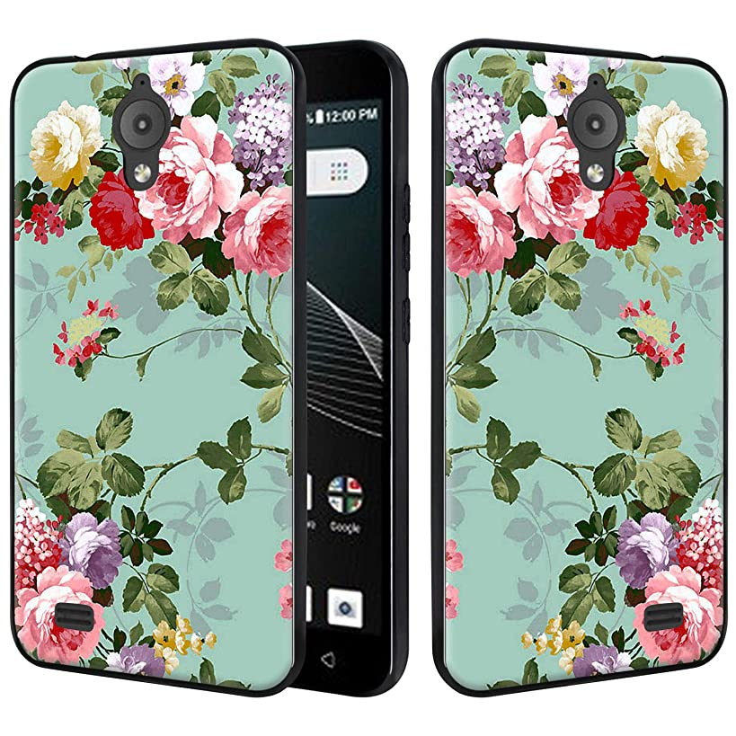 AT&T AXIA Case (QS5509A), Lacass Silicone Gel Soft TPU Bumper Durable Flex and Easy Grip Protective Case Compatible with AT&T AXIA (Cricket Vision) 2018 (Peony)