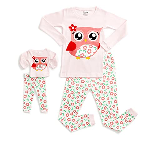 c1ec149d13 DinoDee Kids Pajamas Matching Doll   Girls Pajamas 2 Piece Pjs Set 100%  Cotton (